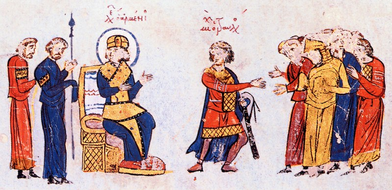 Leo V the Armenian, Emperor of the Byzantine Empire, and Michael Traulos, from Madrid Skylitzes