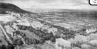 Bird's-eye view of McGill College, Montreal, Quebec / Vue à vol d'oiseau du Collège McGill, Montréal (Québec)