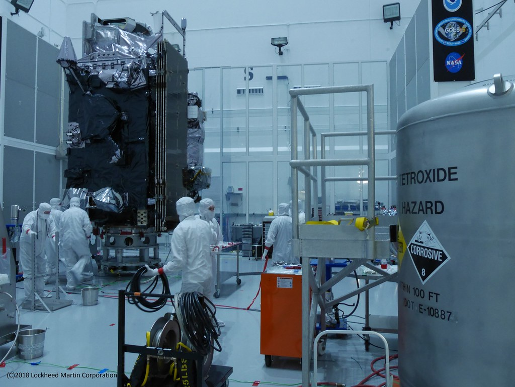 The fueled GOES-S spacecraft in a clean room at Astrotech Space Operations