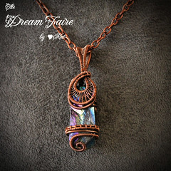 Titanium Reign - Crystal Shard and Woven Copper Wire Necklace