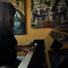 Cyndi at the piano