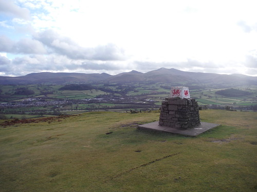 Trig Point, Pen-y-crug, with Central Beacons behind