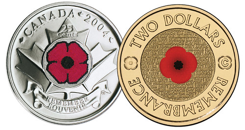 Red poppy coin comparison