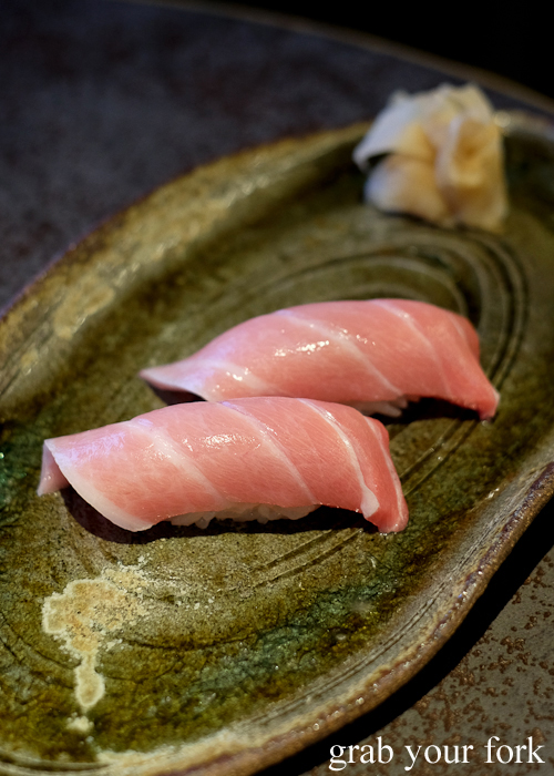 Tuna ootoro nigiri sushi, part of our omakase by Chef Ryuichi Yoshii at Fujisaki by Lotus at Barangaroo in Sydney