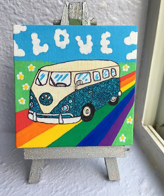 """New painting in my Etsy shop! """"Love is a teal glitter VW"""". 🌈💙✨"""