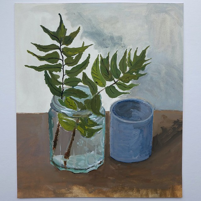 Holly fern in a jar - still life painting (25cm x 22cm) gouache on Fabriano paper