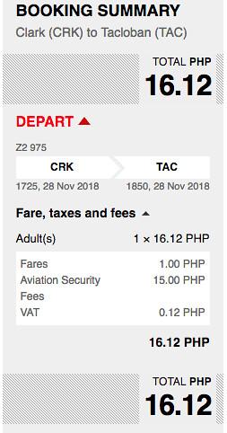 AirAsia Promo Clark to Tacloban November 28, 2018