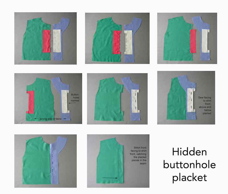 hidden buttonhole placket steps