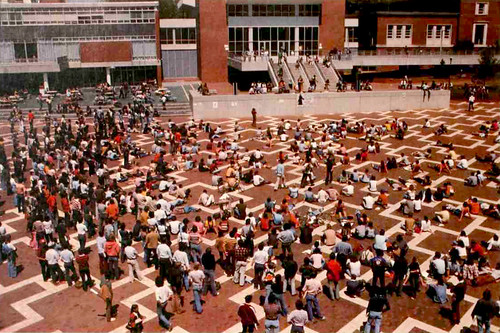 """Students gather on the Brickyard as they go """"on strike"""" to oppose campus administration in the late 1970s."""