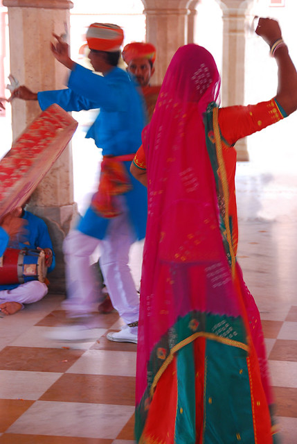 Dancers in the Hawa Mahal, or Palace of Winds, Jaipur, India
