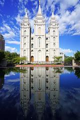 Salt Lake Temple reflecting in the pool, SLC, Utah