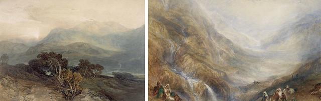 左)J・M・W・ターナー《スノードン山、残照》(1798-99年 水彩、スクレイピングアウト・紙 エディンバラ、スコットランド国立美術館群)(C)Trustees of the National Galleries of Scotland 右)ターナー《サン・ゴタール峠の下り道》(1848年、郡山市立美術館)