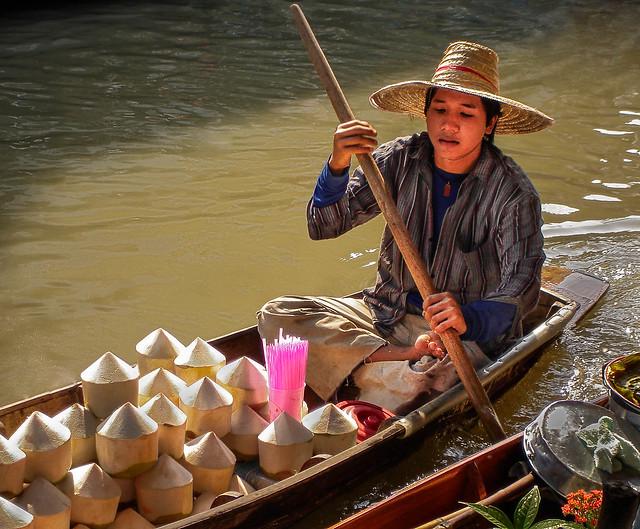 Young coconut drink vendor