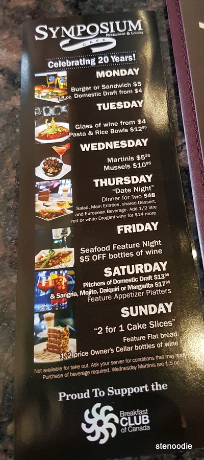 Symposium Cafe Restaurant & Lounge daily specials