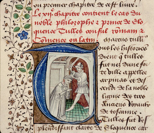 Death of Marcus Tullius Cicero in French miniature