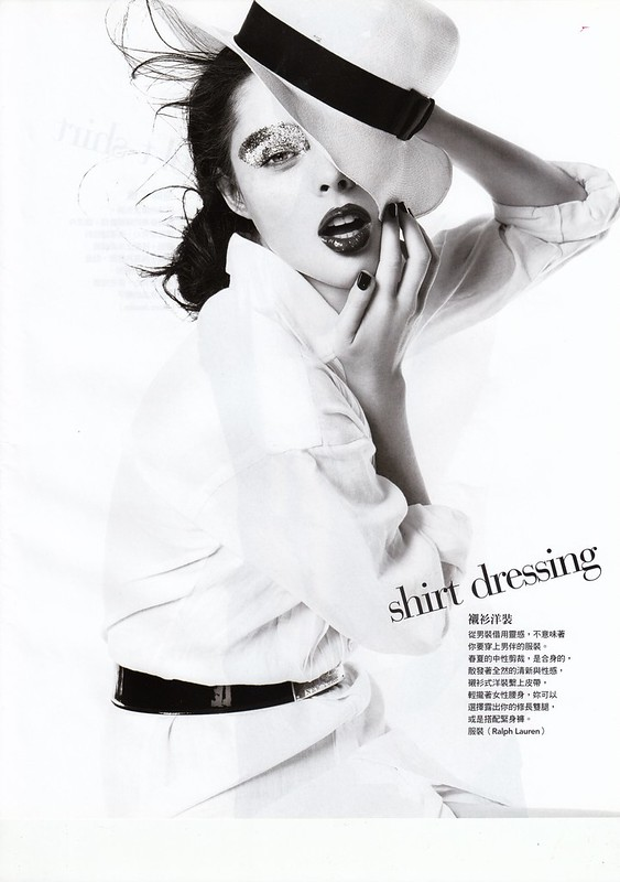 "shirt dressing : ""Smart Moves"", Vogue Taiwan, No125, Feb, 2007. Photographed by Steven Meisel, Fashion editor Grace Coddington, Hair Julien d'Ys, Makeup Pat McGrath for Max Factor"