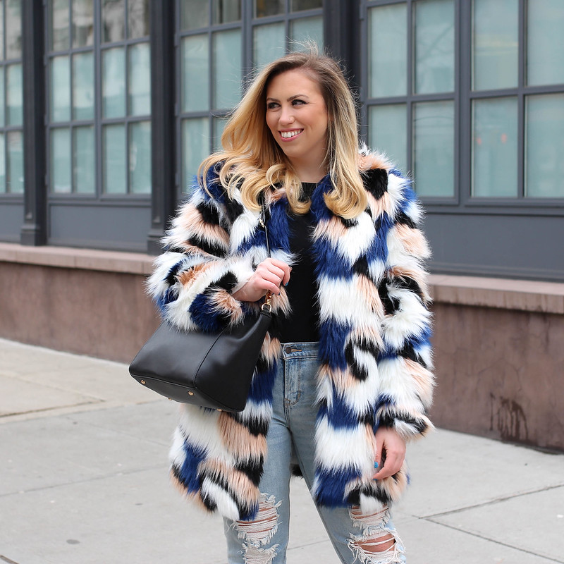 End of Winter Outfit Colorful Fur Coat Light Wash Distressed Jeans How to Get Excited by Your Own Wardrobe