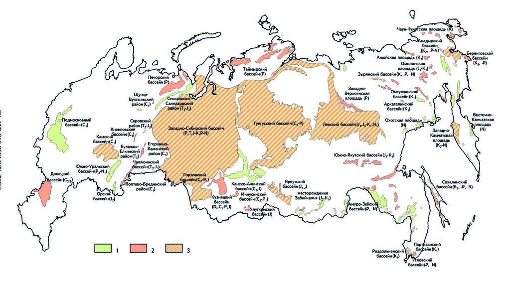 Размещение угленосных бассейнов, районов и площадей на территории России