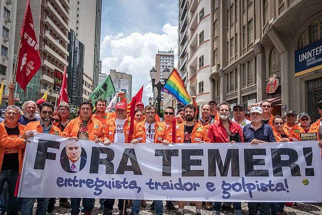 CUT, CTB, CSP Conlutas, Força Sindical, UGT y Nova Central en acto en noviembre de 2017 - Créditos: Gibran Mendes