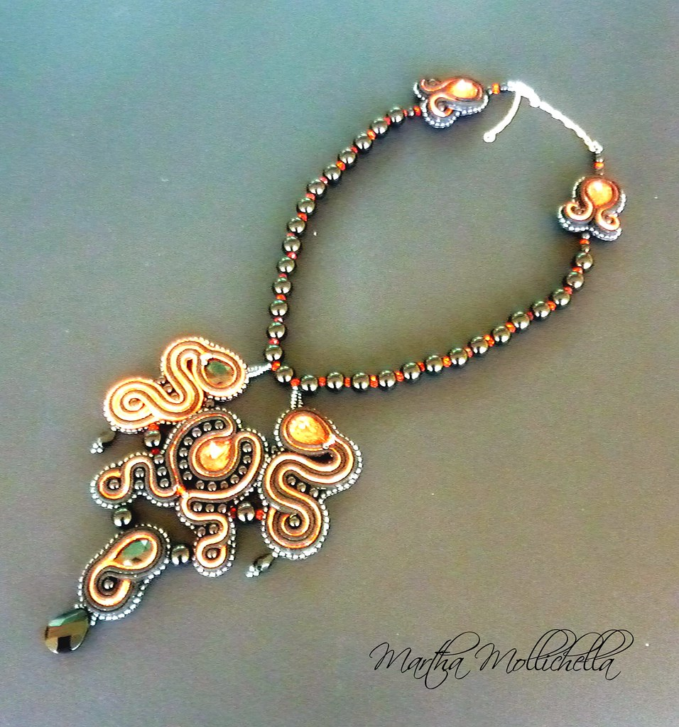 soutache necklace handmade in Italy by Martha Mollichella