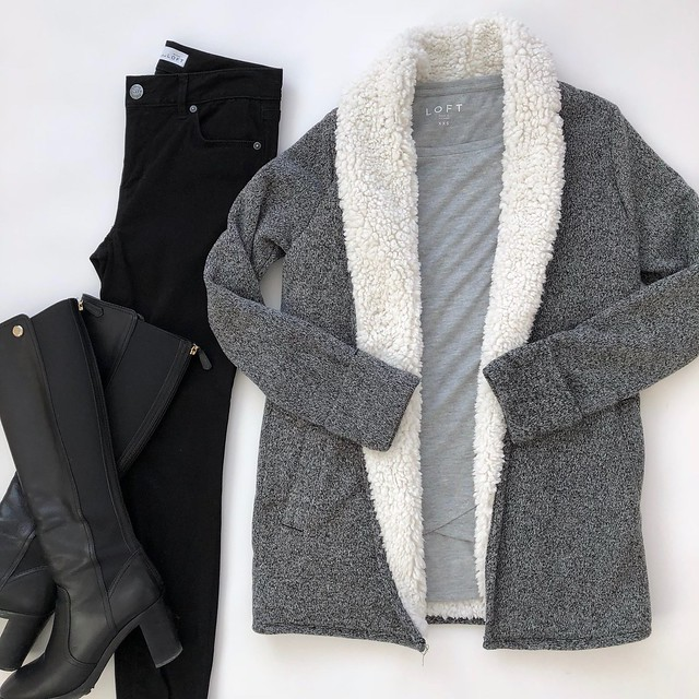 Abercrombie Sherpa-Lined Cardigan, size XS