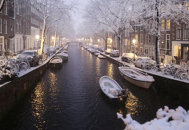 Boatman passing through the white night