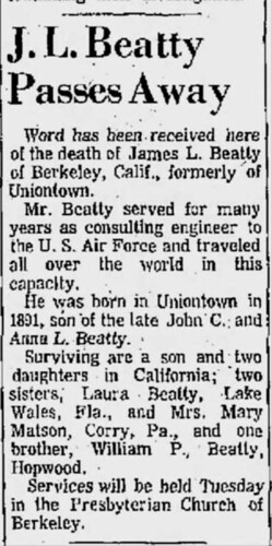 death notice of my Grandfather 1968