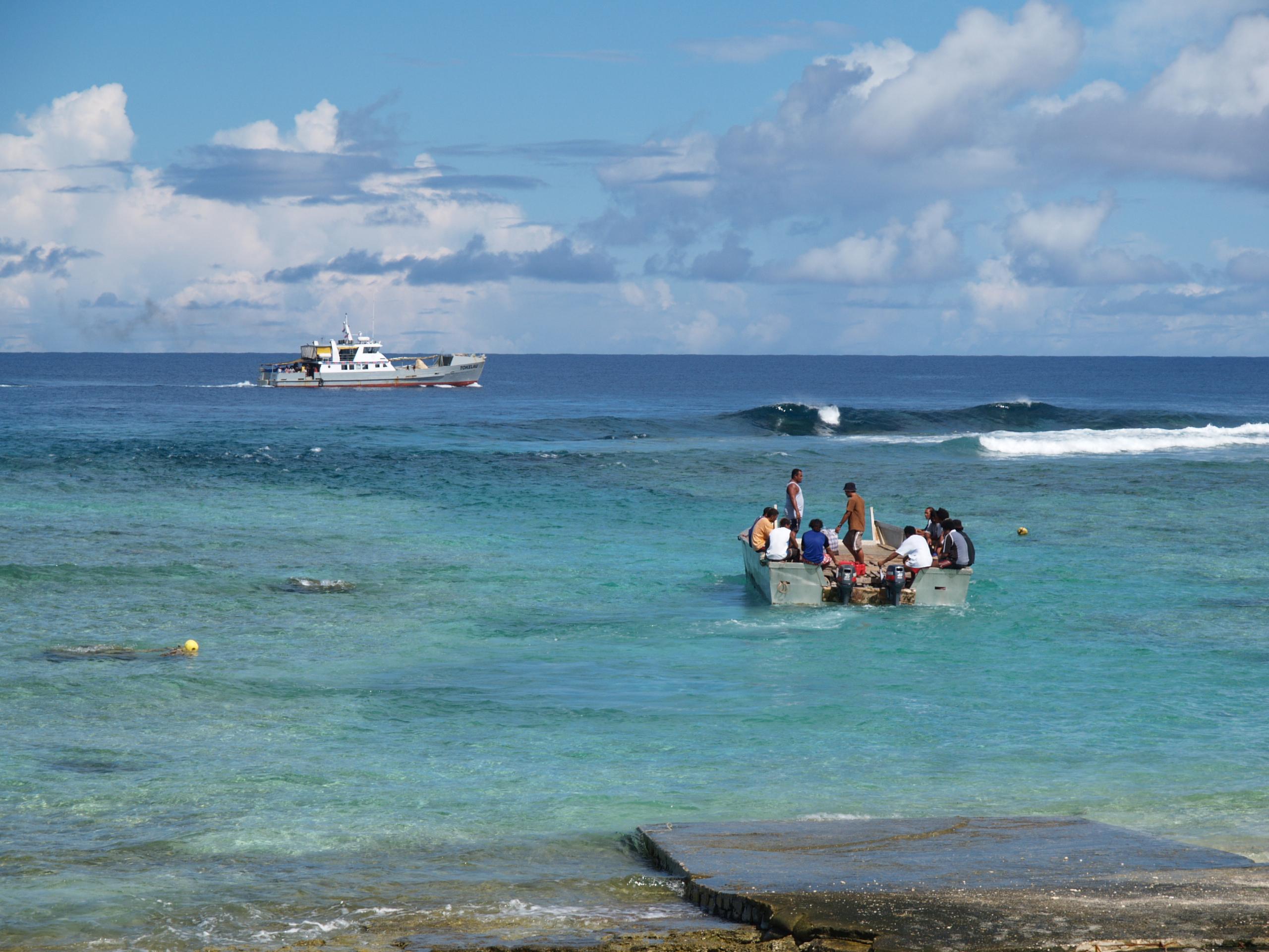 Ferrying supplies to Tokelau. Photo taken on July 8, 2007.