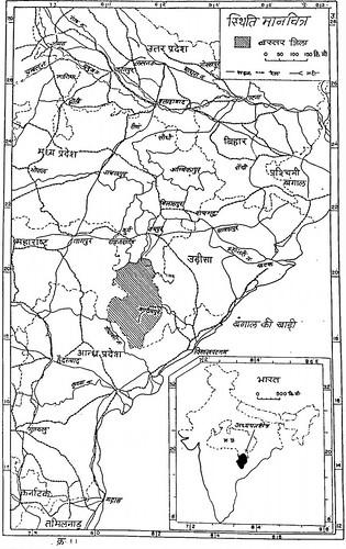 बस्तर जिला : स्थिति मानचित्र