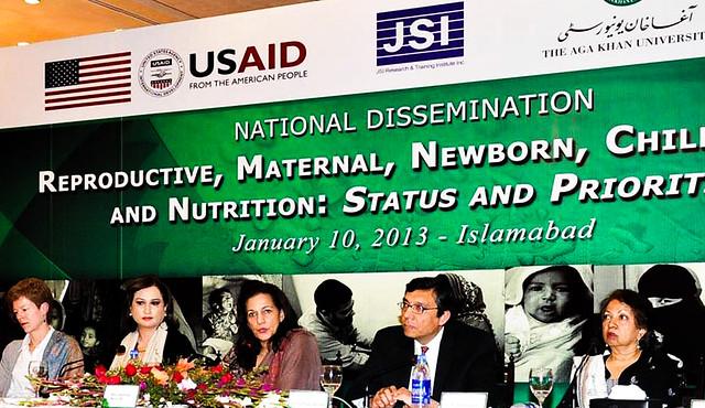 Shahnaz Wazir Ali presides over a conference on Reproductive Health Dr. Zulfiqar Bhutta and Dr. Zeba Sathar, 2013