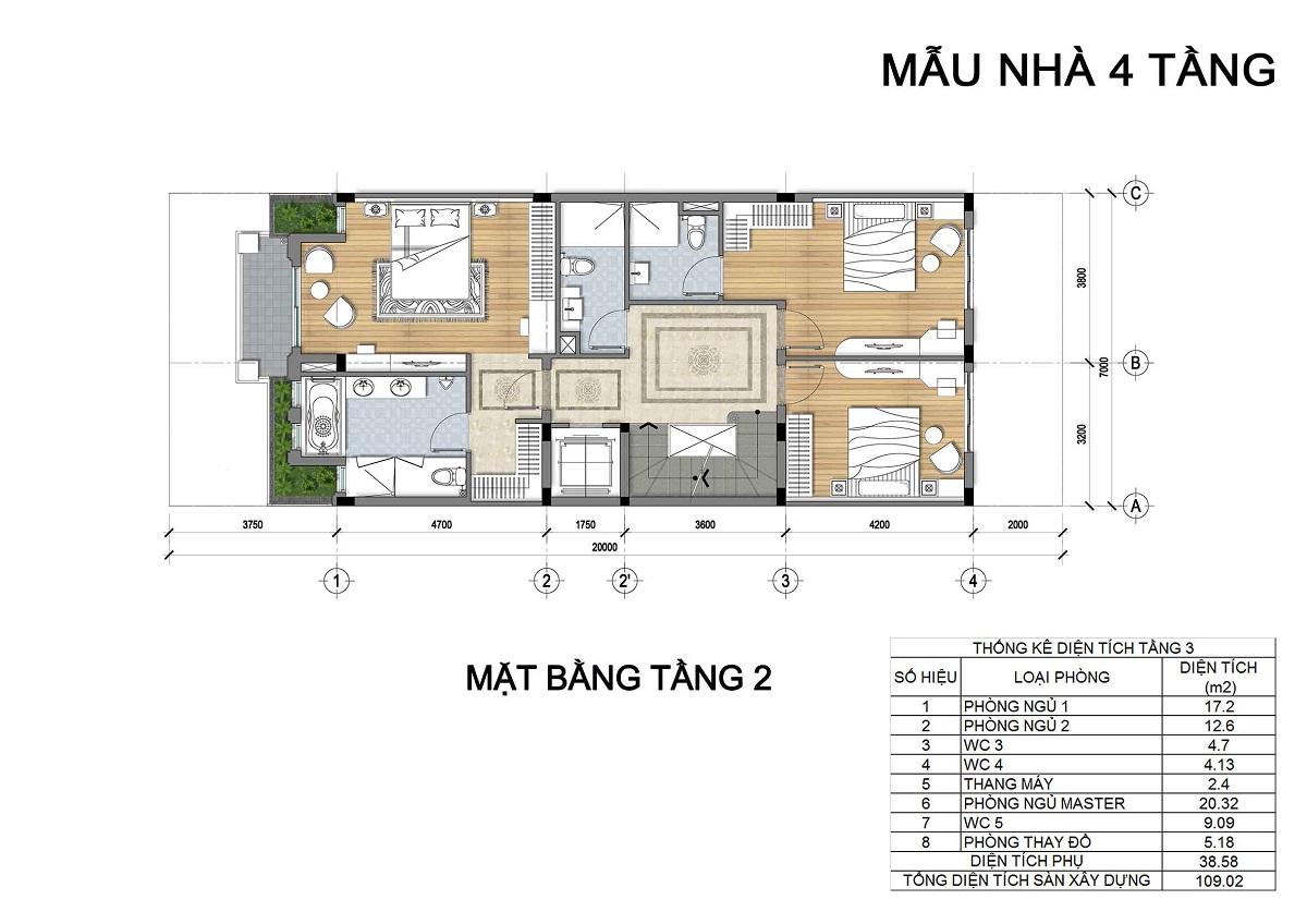 Mặt bằng tầng 2 biệt thự 4 tầng thuộc các lô LK3, LK4, LK5 biệt thự Hưng Phát Green Star.