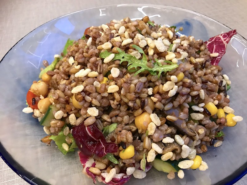 Mixed Grain Spelt Salad with Marinated Mushrooms
