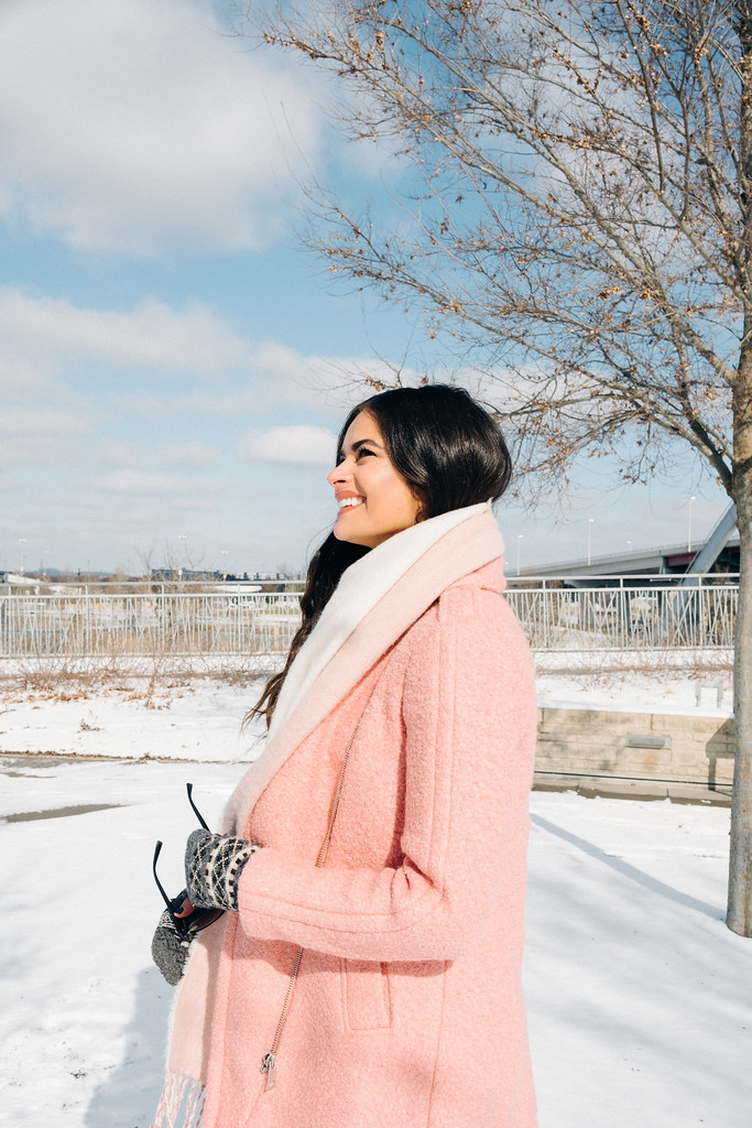 Priya the Blog, Nashville fashion blog, Winter outfit pink coat, LOFT textured moto coat, pink Dr. Martens, snow day outfit, Nashville snow day, snow outfit with pink coat