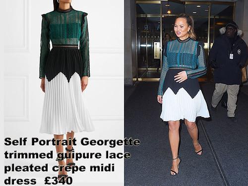 Self-Portrait-Georgette-trimmed-guipure-lace-pleated-crepe-midi-dress