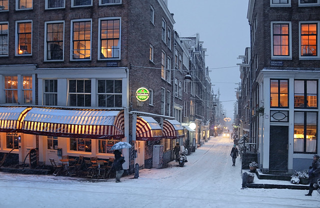 Warm city lighting in the winter