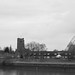 Churchill mansions, St.Marys Church and the SJB , taken from Spike Island, Widnes, Cheshire, England.