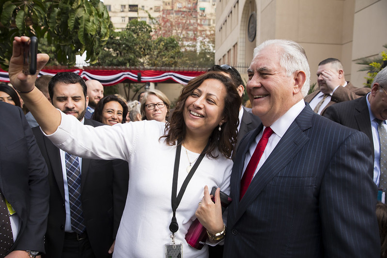 Secretary Tillerson Poses for a Selfie With Embassy Staff