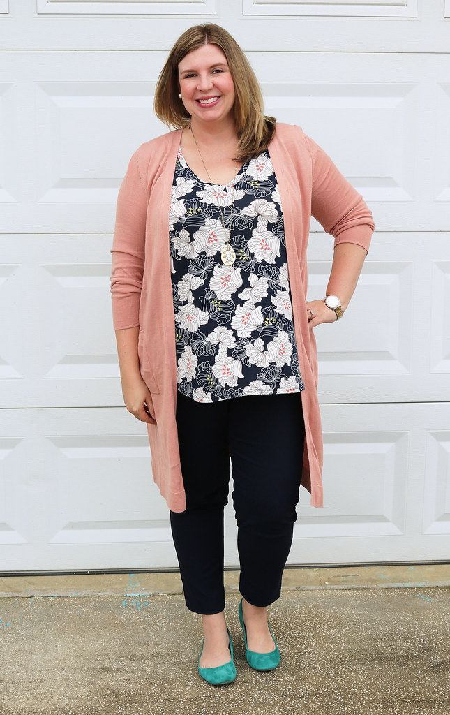 long rose cardigan, navy floral top, navy pencil pants, teal flats 3