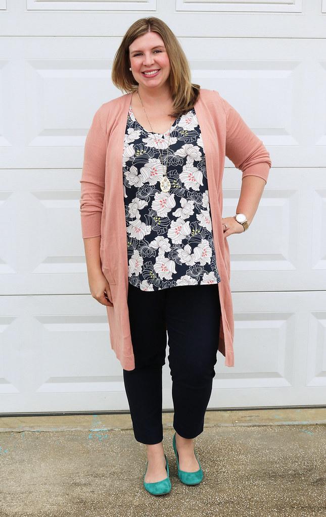 long rose cardigan, navy floral top, navy pencil pants, teal flats 3