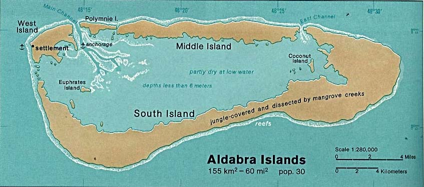Map of Aldabra Group, Seychelles Outer Islands.