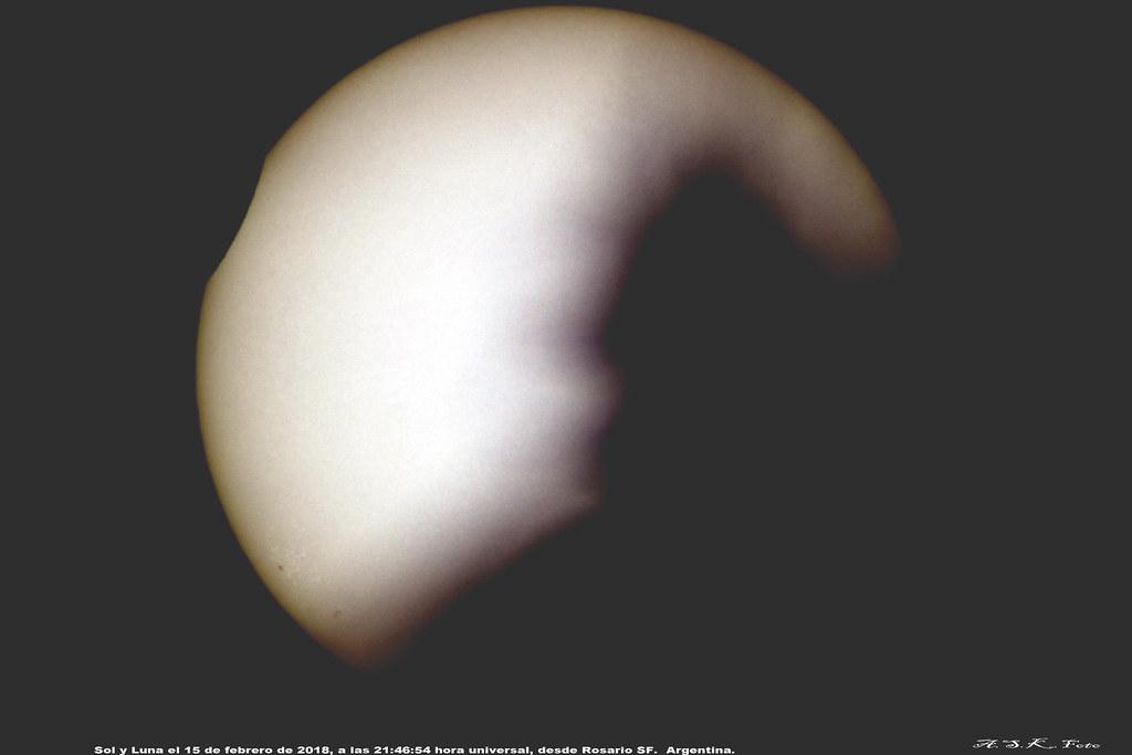 Eclipse Parcial de Sol febrero de 2018; procesado para exponer mancha.