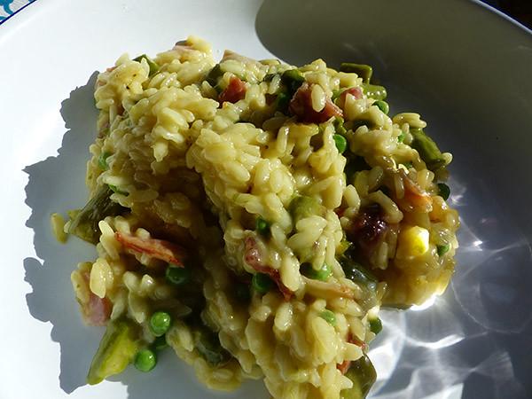 risotto asperges et chorizo