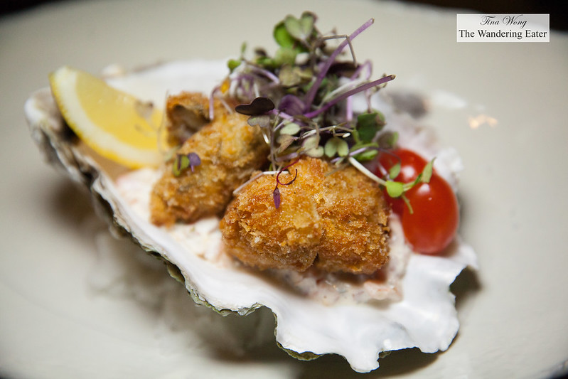 Fried oyster with tomato tartar sauce