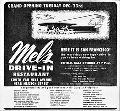 Mel's Drive-In Restaurant Ad, San Francisco, Dec. 23, 1947