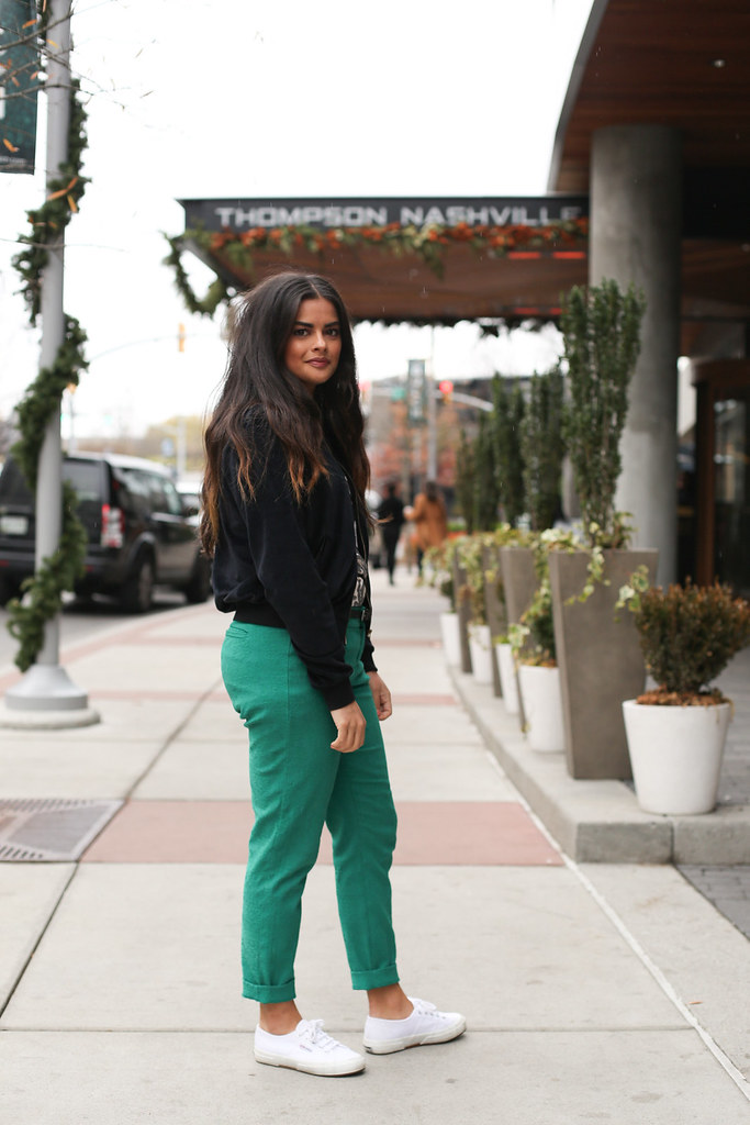 Priya the Blog, Nashville fashion blog, Nashville fashion blogger, festive Winter outfit, how to wear a sequin dress in the daytime, Wear More of What You Love, style strategy, sequin blouse and trousers, sequin blouse, velvet bomber jacket, Superga trainers, emerald green pants