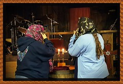 Day 47 of 365--Ladies Lighting Sabbath Candles Before Cowboy Church Bible Study--Cellphone Project 2018