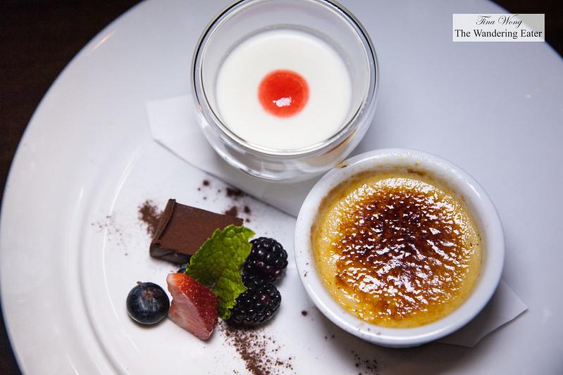Desserts - Yuzu panna cotta and Crème brûlée