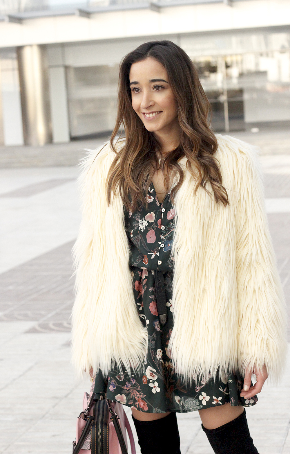 White fur faux coat flower dress black over the knee boots coach bag winter outfit 201813