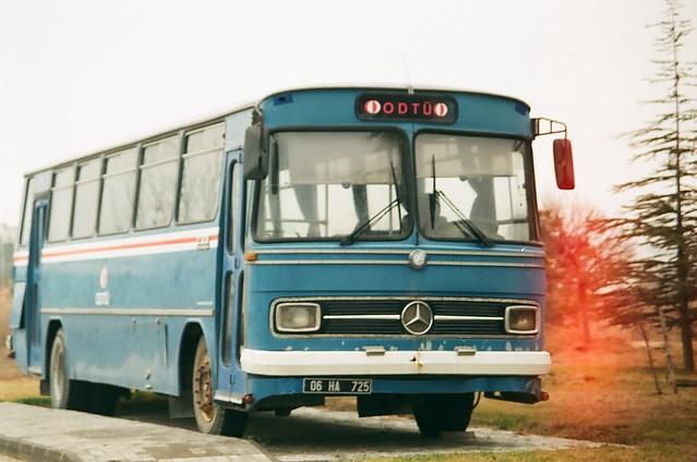 Nostalgia.                                                 #odtu #metu #ankara #turkey #mercedes #bus #lightleak #analog #film #yashica #sigma #fujifilm