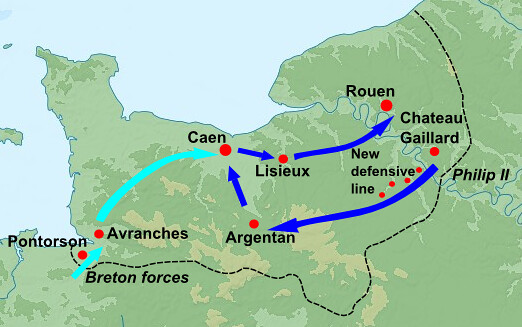 Map of invasion of Normandy by Philip II of France